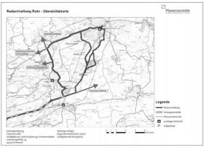 Mögliche Trassen für die geplante Radautobahn