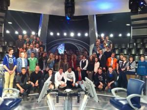 Teilnehmer des Planspielsbörse im Kölner RTL-Studio.