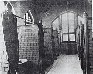 Waschkabinen im Wohlfahrtsgebäude