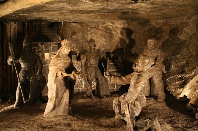 Die Szene zeigt die Hl. Kinga bei der Gründung von Wieliczka