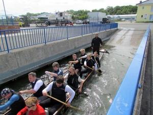 Von der Slippanlage geht es zum Training auf den Datteln-Hamm-Kanal.