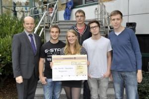 Das Team der Willy-Brandt-Gesamtschule: Merlin Brümmer, Svenja Sprötge, Philipp Meyer, Nico Rewerski, Marc-Henri Salewski