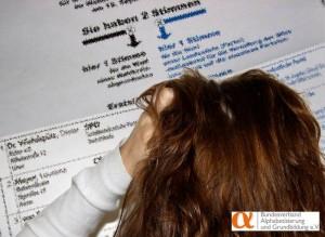 Wer nicht richtig lesen und schreiben kann, für den ist die Bundestagswahl ein Problem. Der Bundesverband Alphabetisierung hat die Parteien gebeten, ihre Programmen auch in leicht verständlicher Sprache zur Verfügung zu stellen.