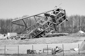 Ende März 1999 fiel der Förderturm von Grillo 4 in Overberge.