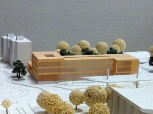 Modell des neuen Sparkassegebäudes