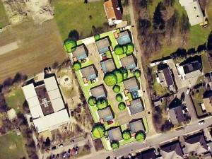 """Lageplan der Siedlung. Links befindet sich das städt. Familienzentrum """"Mikado"""""""