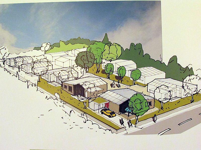 So stellt sich der Architekt die kleine Siedlung der UKBS mit 12 Häusern an der Eichendorffstraße vor.