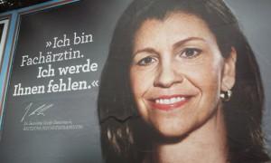 Werbeplakat für ein Medizinstudium an der Werner Straße.