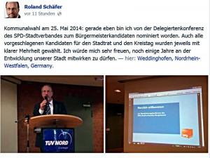 Kurz nach seiner Wahl zum Bürgermeisterkandidaten verfasste Roland Schäfer diese Statusmeldung auf Facebook.