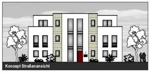 So könnte die beiden Wohn-, Geschäfts- unfd Bürogebäude am Kreisverkehr Schulstraße/Kleiweg aussehen.