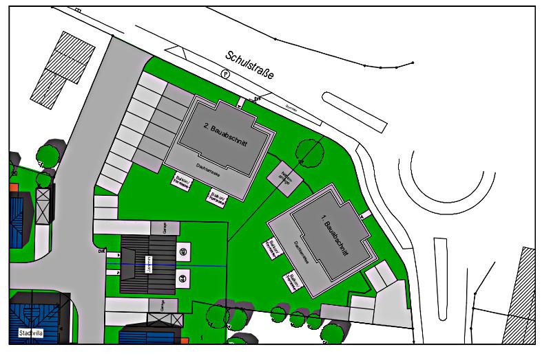 Lageplan für die beiden geplanten Gebäude am Kreisverkehr Schulstraße/Kleiweg.