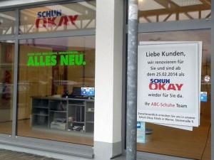 """Zurzeit wird renoviert: Am Dienstag eröffnet """"SCHUH OKAY"""" im Nordberg-Center."""
