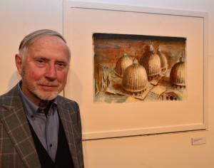 """Rolf Escher vor einem seiner """"Sehnsuchtsorte"""": Venedig mit dem Markusdom."""