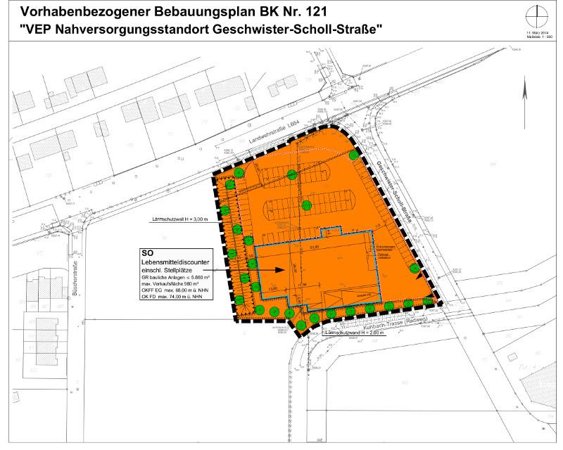 Plan für die Bebauung des Eckgrundstücks Landwehrstraße/Geschwister-Scholl-Straße