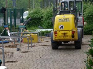 Die Bauarbeiten für die Radstation am Bergkamener Busbahnhof haben begonnen.