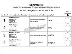 Stimmzettel für die Bürgermeisterwahl