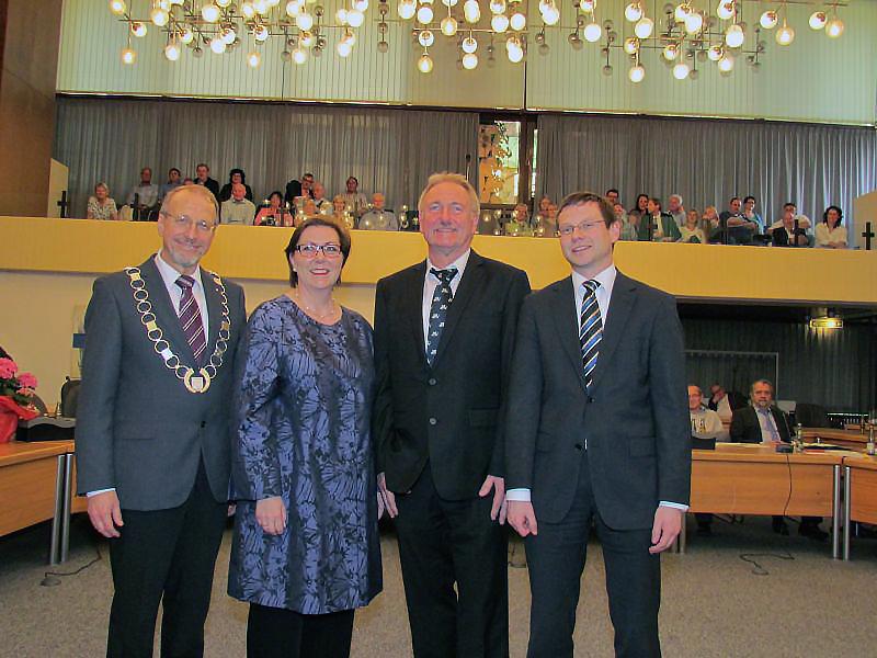 Der neue Bergkamener Verwaltungsvorstand (v.l.): Bürgermeister Roland Schäfer, Christine Busch, Dr. Hans-Joachim Peters und Holger Lachmann.