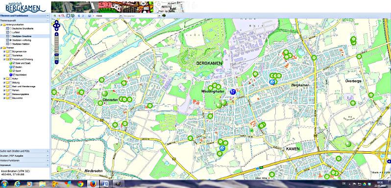 Das neue Kartenangebot auf der Homepage der Stadt Bergkamen.