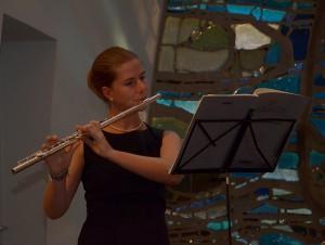 Flötenmusik begleitete die Andacht zum Jubiläum.