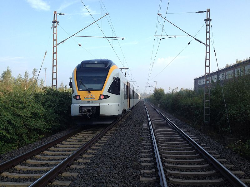 Wegen einer telefonischen Bombendrohung wurde diese Eurobahn von Münster über Lünen nach Dortmund gestoppt.