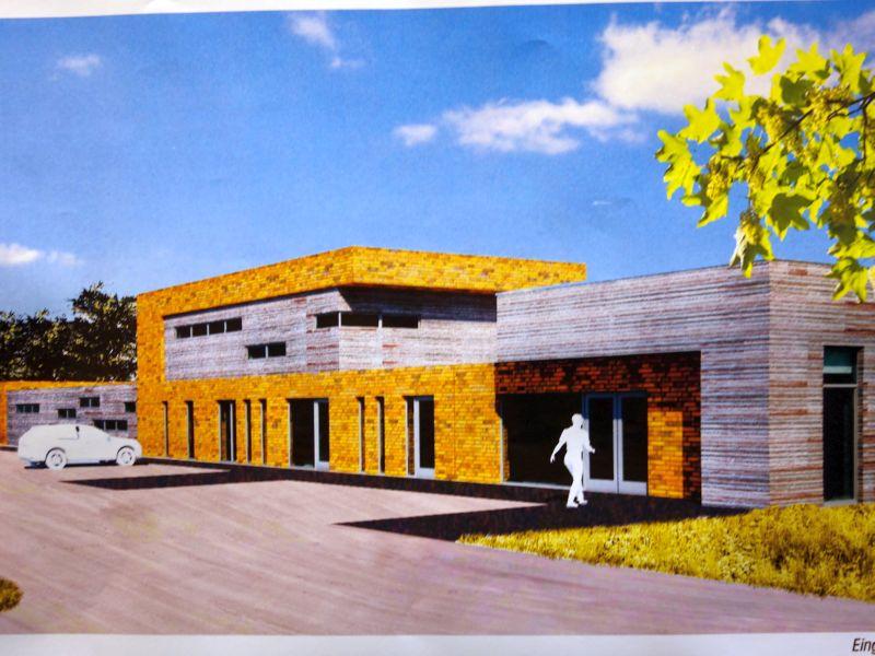 So soll der Eingangsbereich des geplanten Schießzentrum an der Hansastraße in Overberge aussehen.