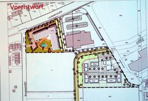 Lageplan: links oben das Seniorenheim, rechts oben der neue Aldi und Rechts unten dass Ärztezentrum mit dem betreuten Wohnen.