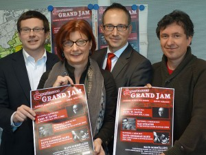 Vorstellung des neuen Grand Jam-Konzepts (v.l.): Holger Lachmann, Kulturreferentin Simone Schmidt-Apel, Michael Krause und Oliver Geselbracht.