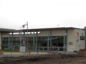 Die Turmarkaden mit Blick von der Sparkassen-Baustelle