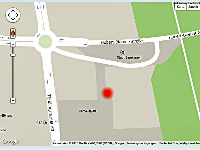 Karte der Uni Köln zum Epizentrum (roter Punkt) des Erdbebens am Sonntagmorgen in Bergkamen. Es lag fast genau in 1000 Meter Tiefe unter dem Rathaus.