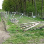 Vandalismus am Parkfriedhof: Wildgatter und Verkehrszeichen mutwillig umgestürzt