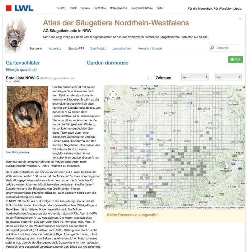 Säugetierbeobachtungen können über die Internetseite http://www.saeugeratlas-nrw.lwl.org gemeldet werden. Screenshot: LWL