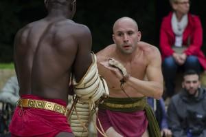 Ganz schön heftig: Die Gladiatoren zeigten Kampfkunst.