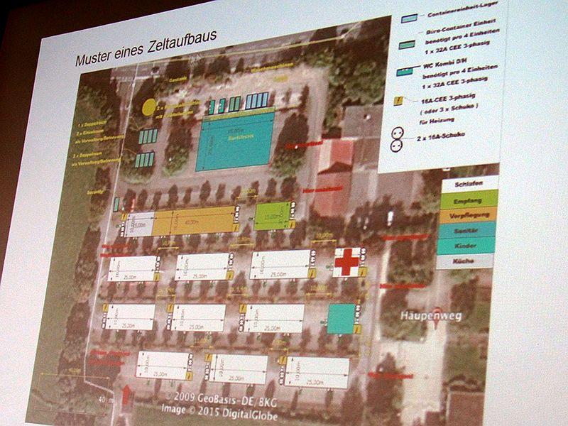 Lageplan der künftigen Flüchtlingsunterkunft auf dem Parkplatz am Wellenbad.