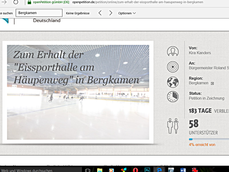 Ausschnitt aus der Online-Petition des EC Bergkamen.