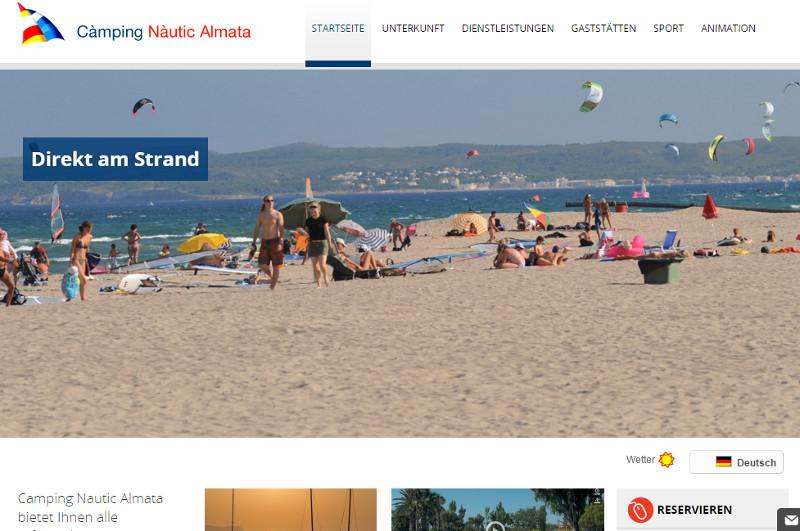 """Ausschnit aus der Homepage der Anlage """"Nautic Almata"""" an der Costa Brava."""