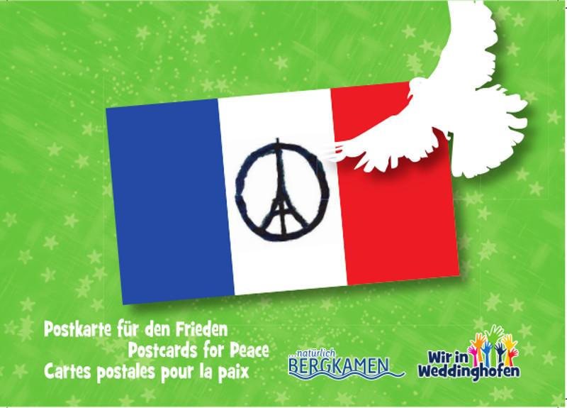 Diese Postkarte für den FRieden wird auf dem Weihnachtsmarkt in Weddinghofen am 28. November verteilt-