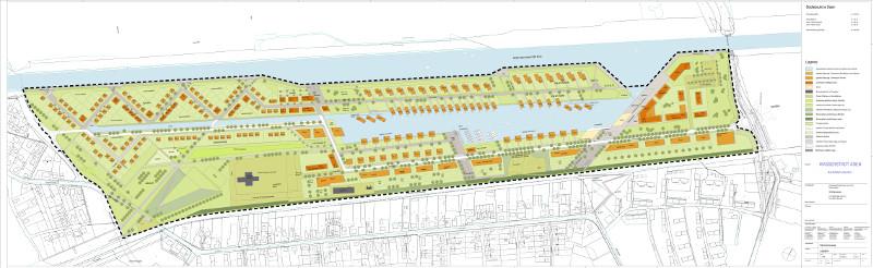 Konzept für die Wasserstadt Aden. Im Mittelpunkt befindet sich der See.