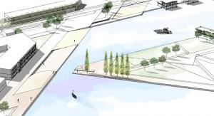Projektskizze Wasserstadt: So könnte der Eingangsbereich vom Wendebecken am Datteln-Hann-Kanal in den Adensee aussehen.