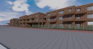 Das Nebengebäude bietet Platz für eine Tagespflege und einen 4 Gruppen-Kindergarten sowie barrierfreie Wohnungen. Das eigentliche Gesundheitszentrum befindet sich links.