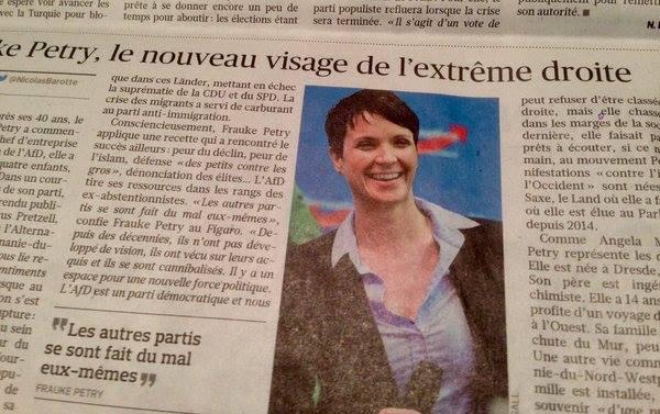 """Ausschnitt aus """"Le Figaro"""" vom Dienstag. """"Frauke Petry, das neue Gesicht der extremen Rechten"""" titelt die französische Tageszeitung"""
