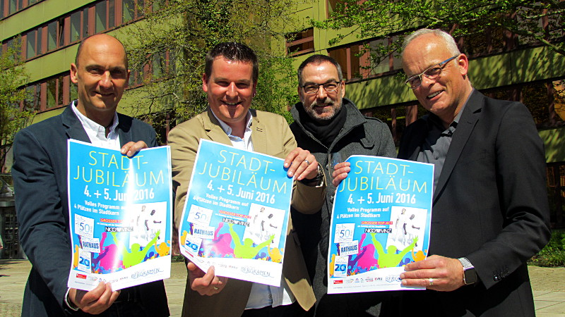 Präsentierten das Jubiläums-Festprogramm (l.): Thomas Hartl, Karsten Quabeck, Thomas Grefenbrock und Thorsten Wagner