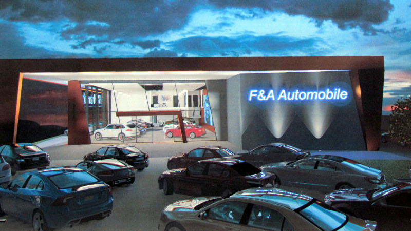 So soll nach den Vorstellungen des Architekten das neue F & A-Autohaus bei Nacht wirken.