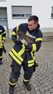 Feuerwehrmann mit der geretteten Katze.