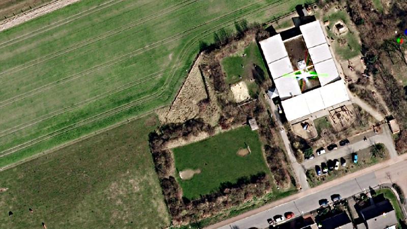 """Westlich des Familienzentrums """"Mikado"""" soll die neue Kita der Johanniter errichtet werden. Luftbild: Regionalverband Ruhr, CC BY-NC-SA 4.0"""