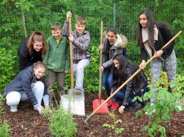 Jugendliche der Willy-Brandt-Gesamtschule und der Partnerschule aus Silifke (Türkei) packten beim Anlegen des Schulgartens tatkräftig mit an.