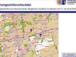 Der Wohnungseinbruchsrada für Bergkamen, Kamen und Bönen für den Zeitraum vom 17. bis 24. Juni.