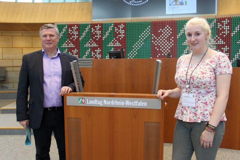Saskia Steube mit Rüdiger Weiß im Düsseldorfer Landtag