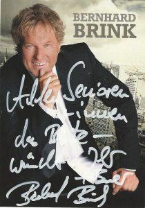 Bernhard Brink: Autogramm mit Gruß an die Senioren und Seniorinnen im Kreis Unna.