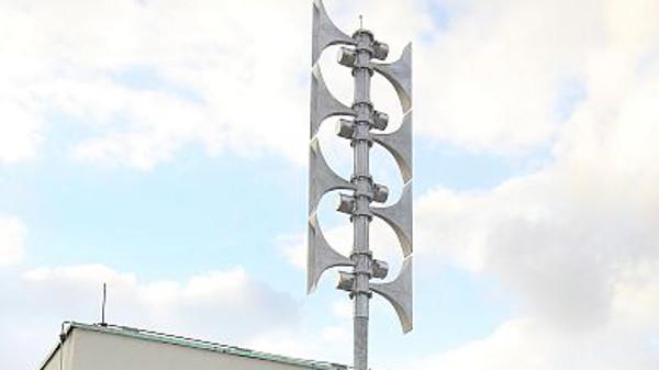 Hornsirene auf dem Bayer-Gelände.