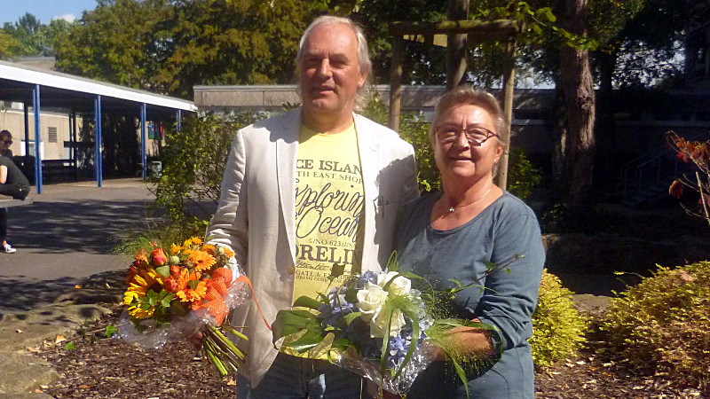 Abschied nach über 30 Jahren am Bergkamener Gymnasium: Christiane Hagemann und Michael Blech.